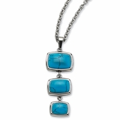"Chisel Stainless Steel Simulated Turquoise Dangles Pendant 18"" Necklace"