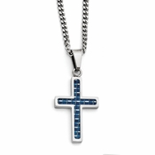 Chisel Stainless Steel Small Cross Pendant with Blue Carbon Fiber