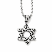 Chisel Stainless Steel Star of David Pendant