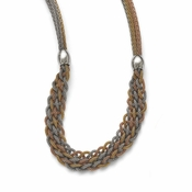 Chisel Stainless Steel Yellow and Rose IP Plated Braided Mesh Necklace