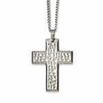 Chisel Textured Stainless Steel Cross Pendant