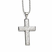 Chisel Textured Stainless Steel Cross Pendant with Beveled Edges