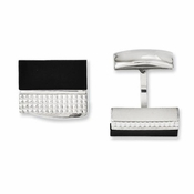 Chisel Textured Stainless Steel Cufflinks with Black Agate