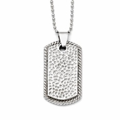 Chisel Textured Stainless Steel Dog Tag with Rope Edges