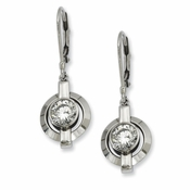 Chisel Titanium Cubic Zirconia Leverback Earrings