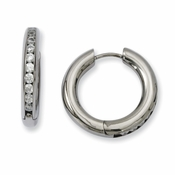 Chisel Titanium CZ (Cubic Zirconia) Hinged Hoop Earrings