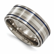 <b>Edward Merill Anodized Gray Titanium Collection:</b><br> 10mm Anodized Titanium Band with Sterling Silver Blue