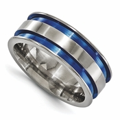 <b>Edward Merill Anodized Gray Titanium Collection:</b><br> 8.5mm Anodized Titanium Band with Blue Groove