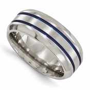 <b>Edward Merill Anodized Gray Titanium Collection:</b><br> 8mm Anodized Titanium Band with Beveled Edge