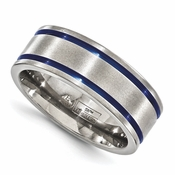 <b>Edward Merill Anodized Gray Titanium Collection:</b><br> 8mm Anodized Titanium Double Groove Blue Band