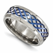 <b>Edward Merill Anodized Grey Titanium Collection:</b><br> 8mm Blue Anodized Brushed and Polished Titanium Band