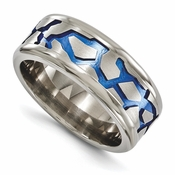 <b>Edward Mirell Anodized Grey Titanium Collection:</b><br> 9mm Blue Anodized Brushed and Polished Titanium Band