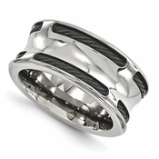 <b>Edward Merill Boulevard Collection:</b><br> 10mm Polished Concave Ring with Black Titanium Cable and Stainless Steel