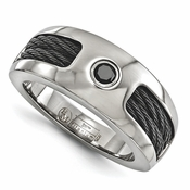 <b>Edward Mirell Cable Squred Collection:</b><br> 8mm Black Titanium Memory Cable and .20 Black Spinel in Sterling Silver Bezel Band Ring