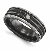 <b>Edward Mirell Diamond Collection:</b><br> 7mm Black Titanium Polished Edge with Double Center .03ctw Diamond and Sterling Silver Bezel Band