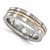 <b>Edward Merill Gold Inlay Bands Collection:</b><br> 6mm Titanium and 14K Rose Gold Grooved Band
