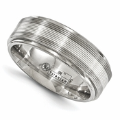 <b>Edward Mirell Gold Inlay Bands Collection:</b><br> 7.5mm Titanium and 14K White Gold Textured Lines Band