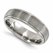 <b>Edward Mirell Gray Titanium Bands Collection:</b><br> 6mm Brush and Polished Titanium Band with Textured Domed