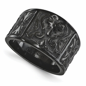 <b>Edward Mirell Heritage Collection:</b><br> 16mm Wide Top Casted Flat Signet Design Ring with Brushed and Polished Black Titanium