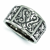 <b>Edward Mirell Heritage Collection:</b><br> 16mm Wide Top Titanium Flat Casted Brushed and Polished Ring