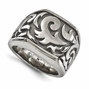 <b>Edward Mirell Pallas Collection:</b><br> 17mm Wide Top Titanium Casted Signet Style Design Ring