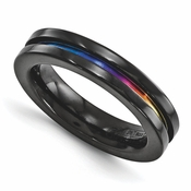 <b>Edward Mirell Radiance Bands Collection:</b><br> 4mm Anodized Black Titanium Band with Groove