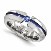 <b>Edward Mirell Radiance Bands Collection:</b><br> 6mm Anodized Titanium with Blue Sapphire Band