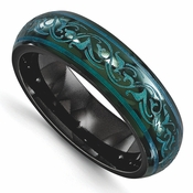 <b>Edward Mirell Rain Collection:</b><br> 6mm Anaodized Black Titanium Dome Teal Color Band