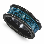 <b>Edward Mirell Rain Collection:</b><br> 8mm Anodized Black Titanium Concave Teal Color Band