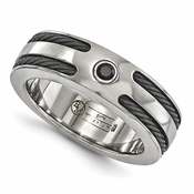 <b>Edward Merill Signature Cable Collection:</b><br> 7mm Titanium Black Titanium Ring with Memory Cable and Spinel in Sterling Silver Bezel