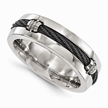 <b>Edward Mirell Signautre Cable Collection:</b><br>Titanium and Cable 7mm Barrel Polished Band