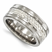 <b>Edward Merill Silver Inlay Bands Collection:</b><br>9mm Brushed and Polished Gray Titanium and Sterling Silver Ring