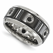<b>Edward Mirell Slate Collection:</b><br> 11mm Black Titanium and Stainless Steel Ring with Black Spinels in Steling Silver Bezel