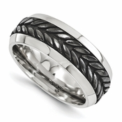 <b>Edward Merill Soul Bands Collection:</b><br> 10mm Steel Beveled Wheat Patterned Black Titanium and Steel Band