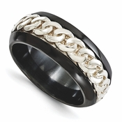 <b>Edward Mirell Soul Bands Collection:</b><br> 9mm Black Titanium Beveled Curb Link Band with Sterling Silver