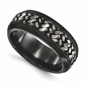 <b>Edward Mirell Soul Bands Collection:</b><br> 9mm Black Titanium Convexed Weave Patterned and Beveled Band