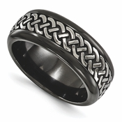 <b>Edward Merill Soul Bands Collection:</b><br> 9mm Black Titanium Dome Tress Patterned Band