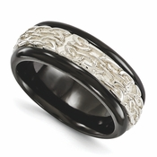 <b>Edward Mirell Soul Bands Collection:</b><br> 9mm Black Titanium Dome Tribal Patterned Band with Sterling Silver