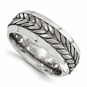 <b>Edward Merill Soul Bands Collection:</b><br> 9mm Steel Beveled Wheat Patterned Titanium and Steel Band