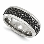 <b>Edward Merill Soul Bands Collection:</b><br> 9mm Steel Dome Tress Patterned Band with Black Titanium