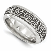 <b>Edward Merill Soul Bands Collection:</b><br> 9mm Steel Dome Tribal Patterned Titanium Band