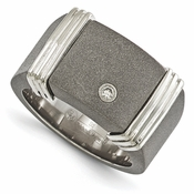 <b>Edward Mirell Stealth Collection:</b><br> 12mm Wide Top Titanium Signet Ring with .06 ctw Diamond and Sterling Silver