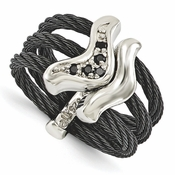 <b>Edward Mirell Tango Collection:</b><br> Black Titanium Flexible 3 Cable Ring with Black Spinel in Sterling Silver