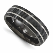 <b>Edward Merill Traction Bands Collection:</b><br> 7mm Black Titanium Band with Textured Lines and Double Pinstrip