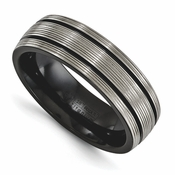 <b>Edward Mirell Traction Bands Collection:</b><br> 7mm Black Titanium with 2 Pinstripes Grooves And Textured Lines