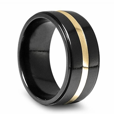 Edward Mirell 10mm Black Titanium Band with 14K Yellow Gold Inlay