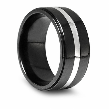 Edward Mirell 10mm Black Titanium Band with Silver Inlay