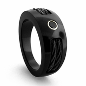 Edward Mirell 10mm Black Titanium Diamond Ring with Cables