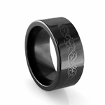 Edward Mirell 10mm Black Titanium Ring with Center Engraving