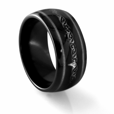 Edward Mirell 10mm Dome Black Titanium Ring with Engravings
